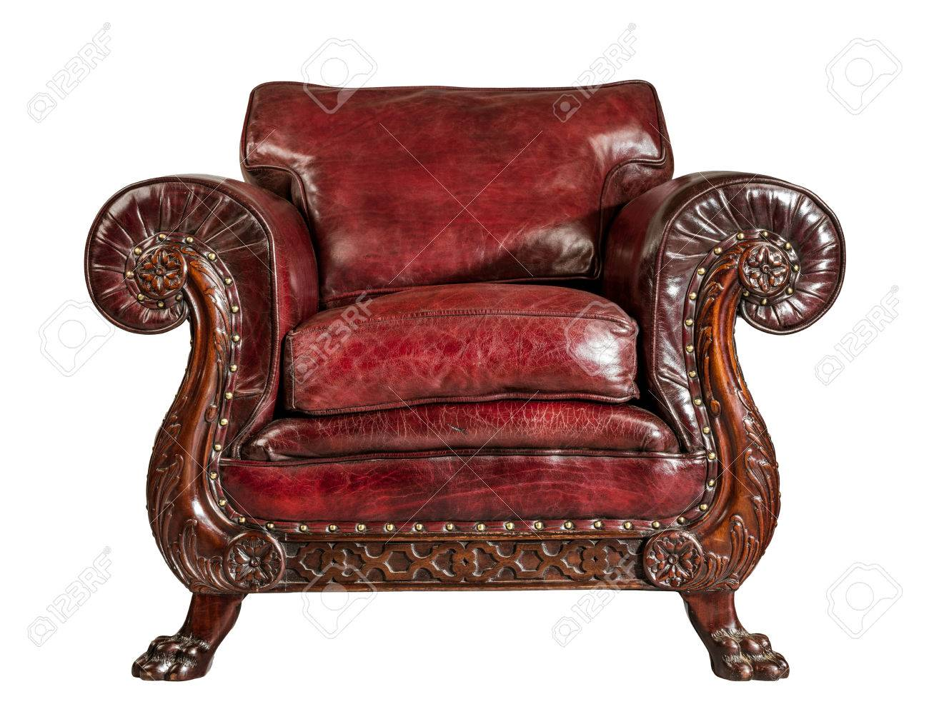 old comfortable antique red leather arm chair Stock Photo - 83668673 - Old Comfortable Antique Red Leather Arm Chair Stock Photo, Picture