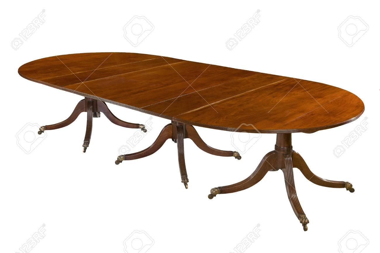 Oude Antieke Eettafel.Eettafel Volledig Uitgebreid Oude Antieke Gemaakt Van Mahonie Elegant Geisoleerd Op Wit Met Uitknippad
