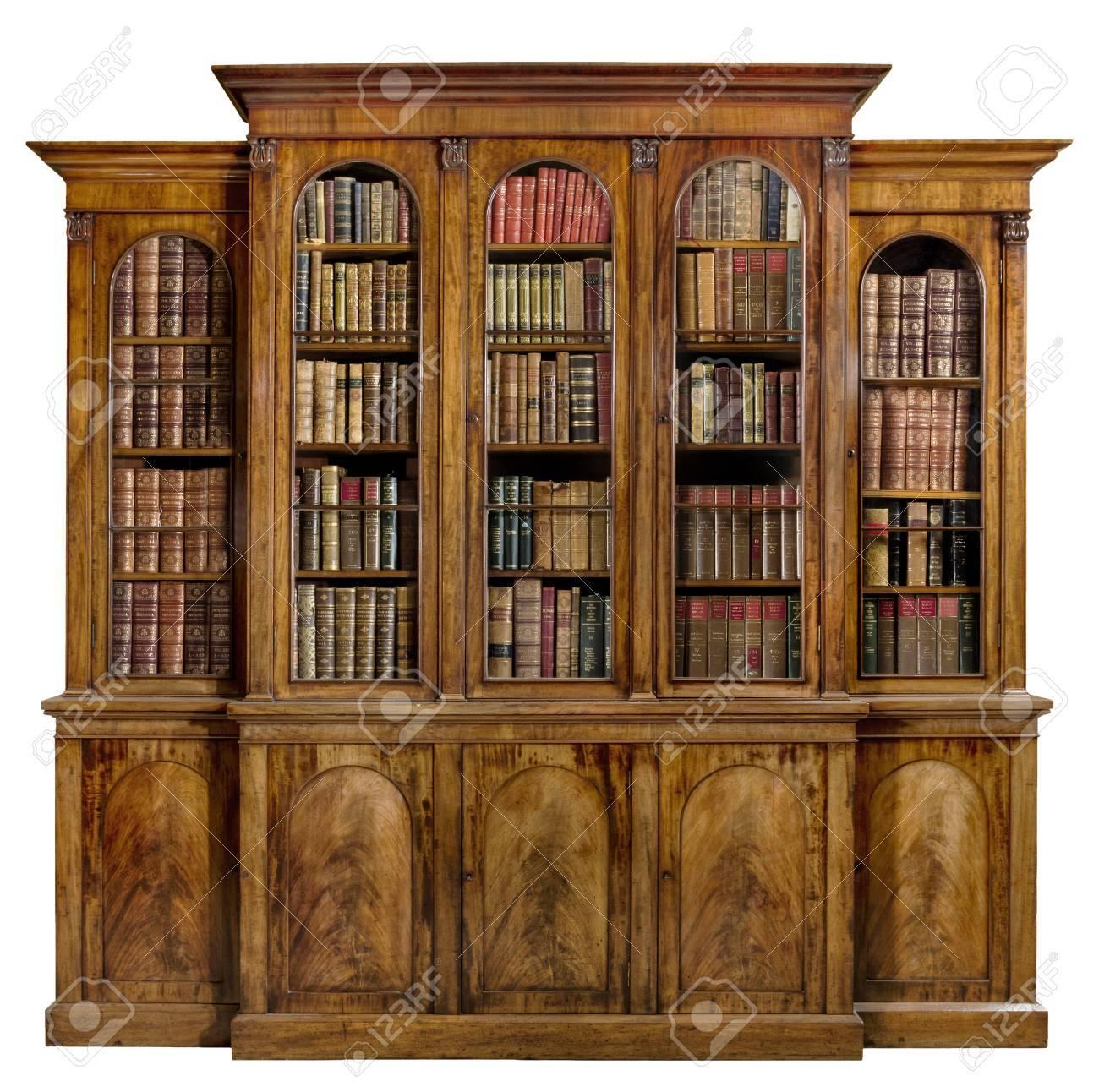 Antieke Boekenkast Mahonie.Oude Antieke Boekenkast Engels Mahonie Met Boeken Geisoleerd Op Wit