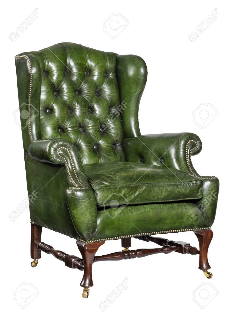 Poltrona Pelle Verde.Vecchia Comoda Poltrona Antica In Pelle Verde Con Braccio Da Ala 18 19 Secolo