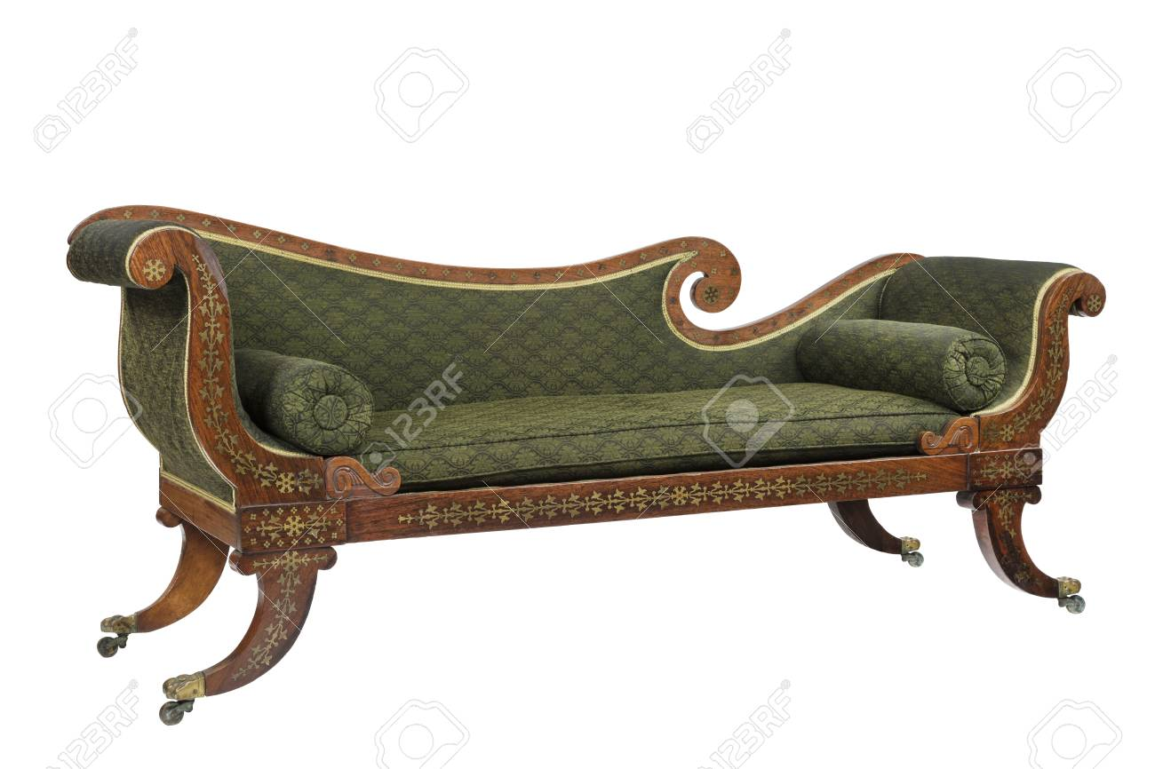 - Chaise Longue Sofa Sette Made Of Mahogany With Inlaid Brass