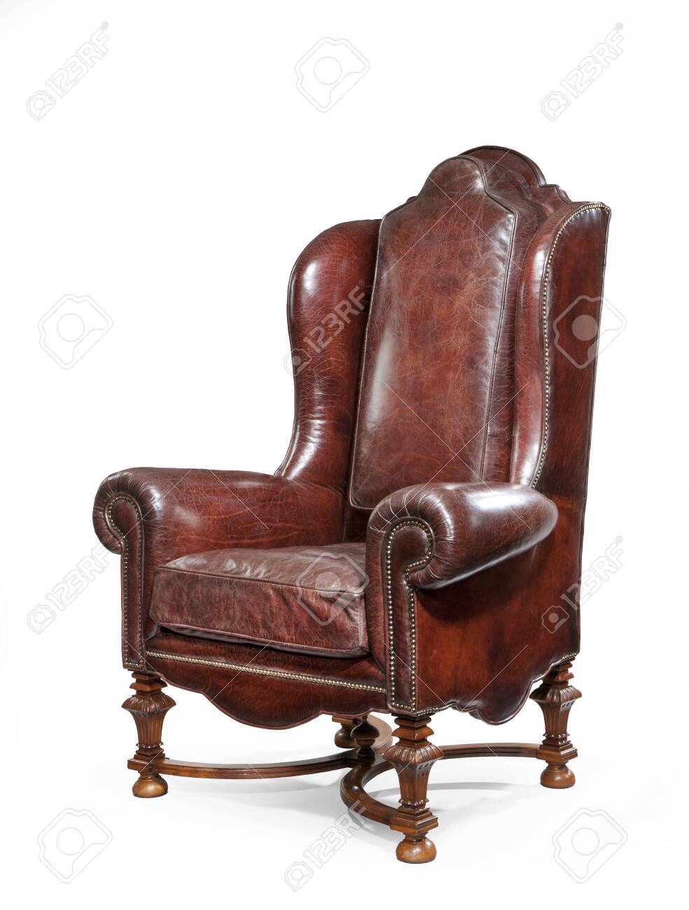 Old styled brown vintage armchair isolated on white background - 131655570