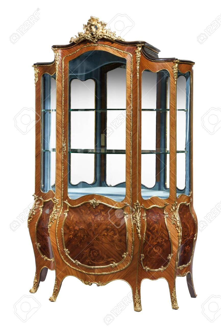 Vintage French Style Display Cabinet With Ormolu Gold Mounts