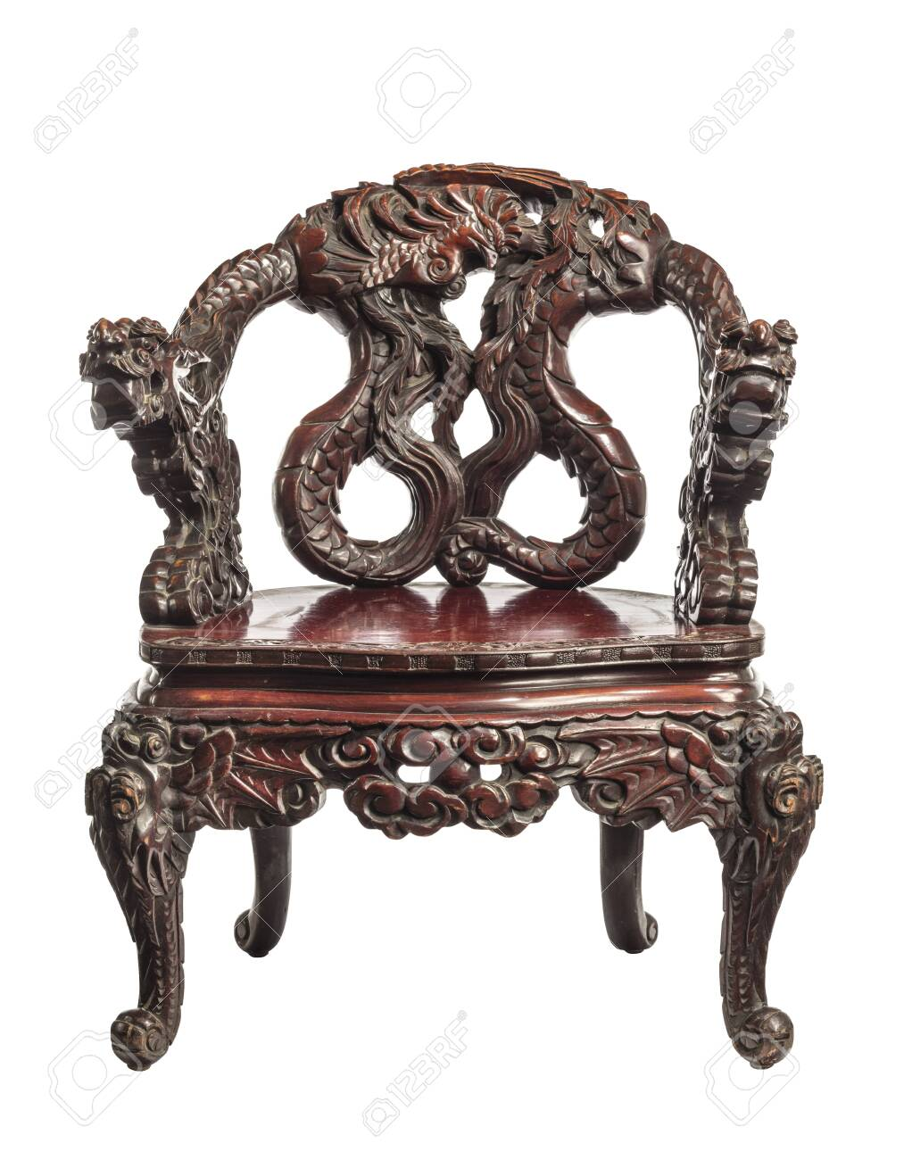 Antique Chinese throne chair with carvings made around 1880. - 137846686
