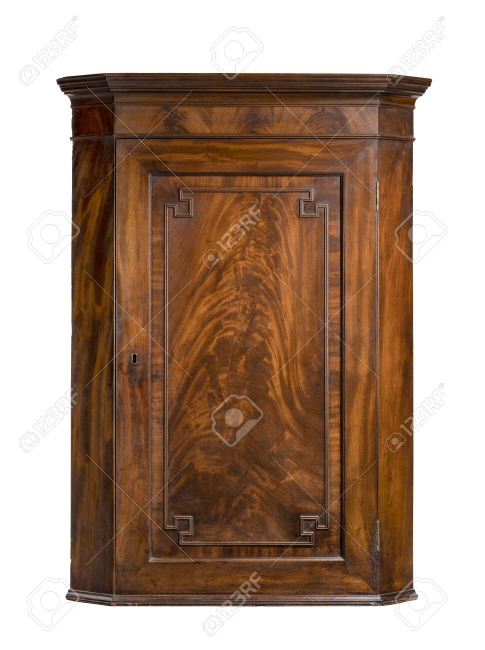 vintage mahogany hanging wall corner cupboard - 137421598