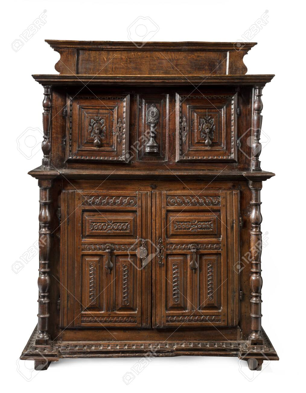 old vintage antique buffet sideboard carved with drawers isolated on white. - 137429166