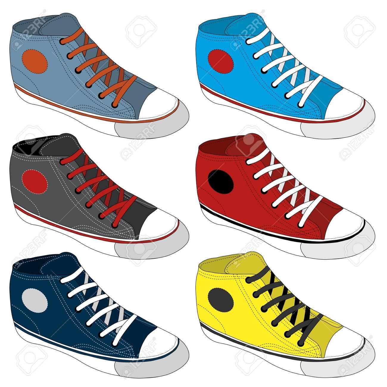 Diferentes En Zapatos O Zapatillas EditableConjunto Zapatilla EsbozadoVectorCompletamente De Deporte Iconos Clásico 5j34ALR