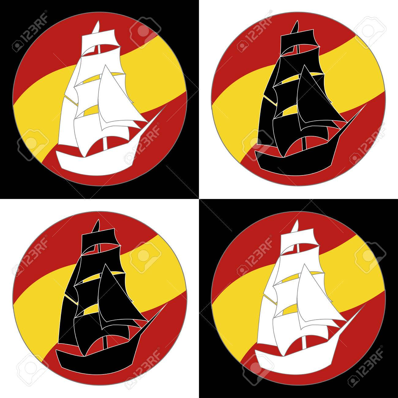 vintage ship sailing boat design vector template ancient pirate