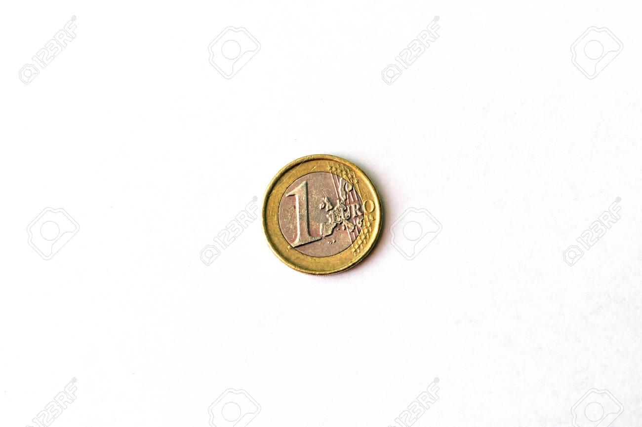 1 Euro Münze Euro Münzen Einen Euro Köpfe Und Schwänze Symbol Der
