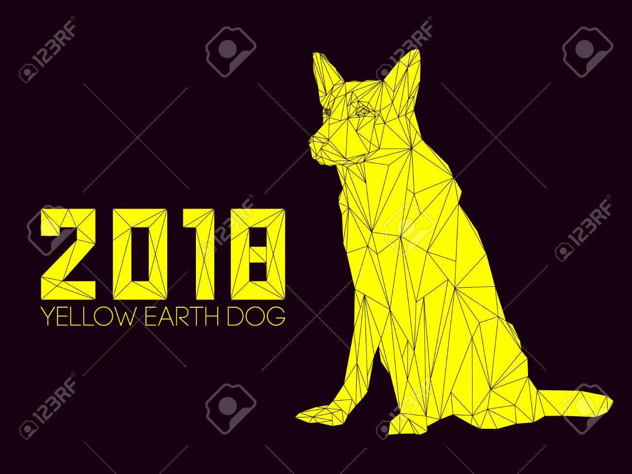 Anno Calendario Cinese.Il Cane E Il Simbolo Del Nuovo Anno 2018 Secondo Il Calendario Cinese Year Of Yellow Earth Dog Guardia Cane Pastore Tedesco In Stile Poligonale