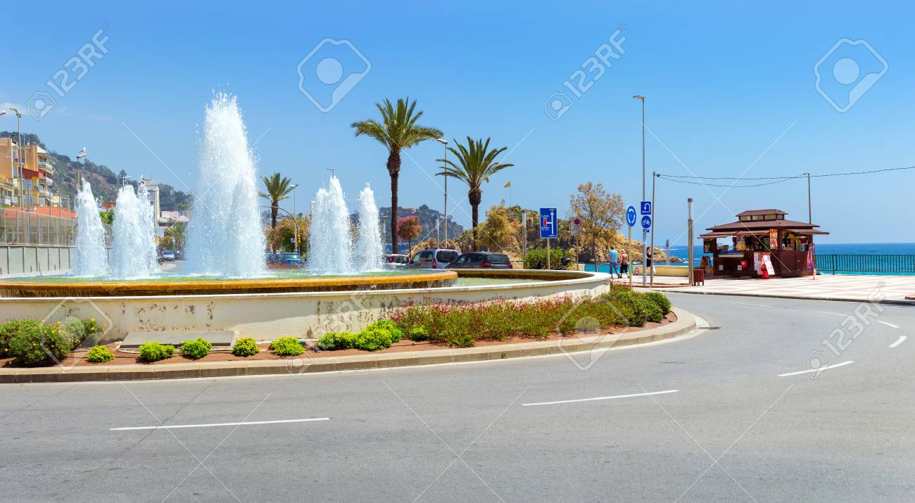 Blanes, Spain - 31 may, 2018: Round fountain among the road junction