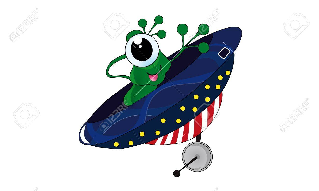 Green one eyed alien in ufo  Cartoon and vector isolated Stock Vector - 13204775