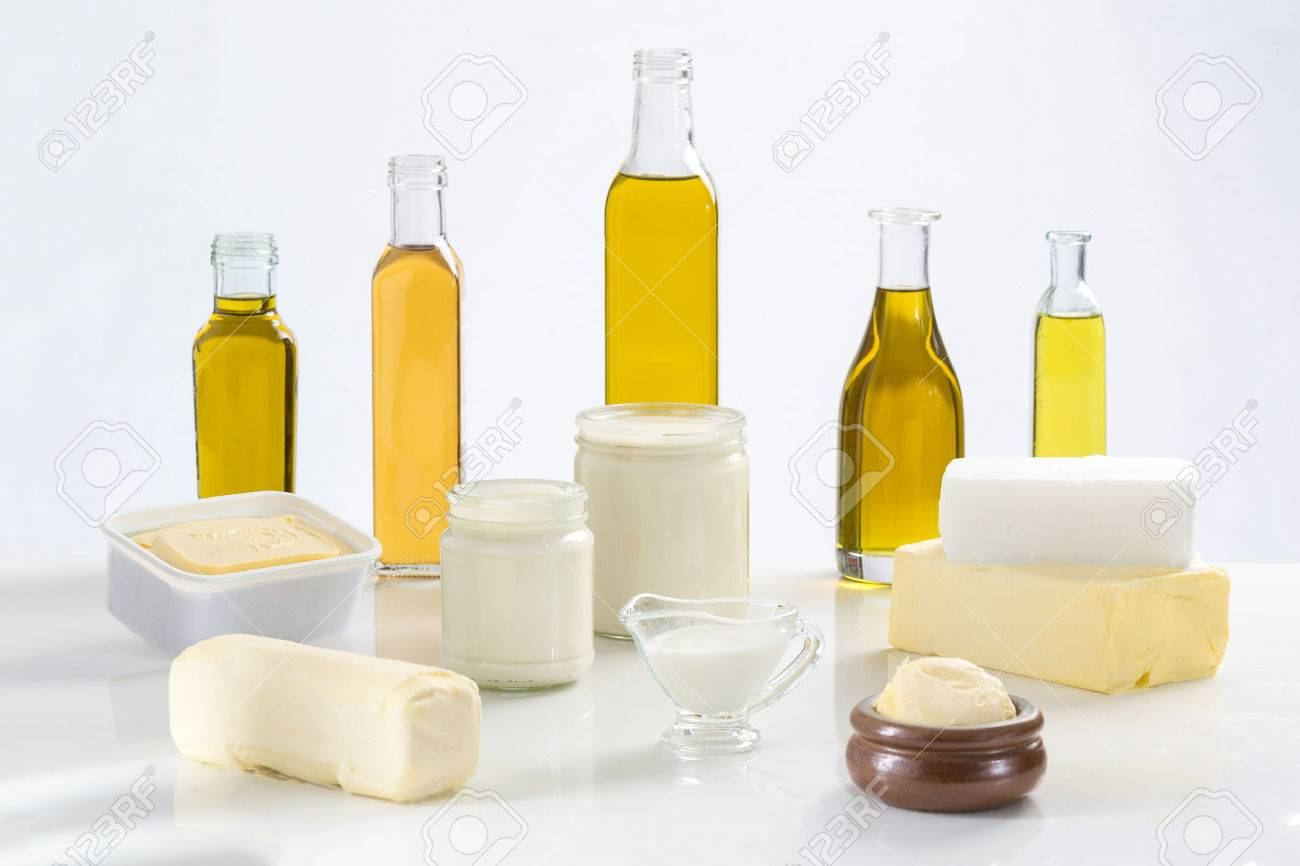 culinary variety of fats on white bacground - 53778460
