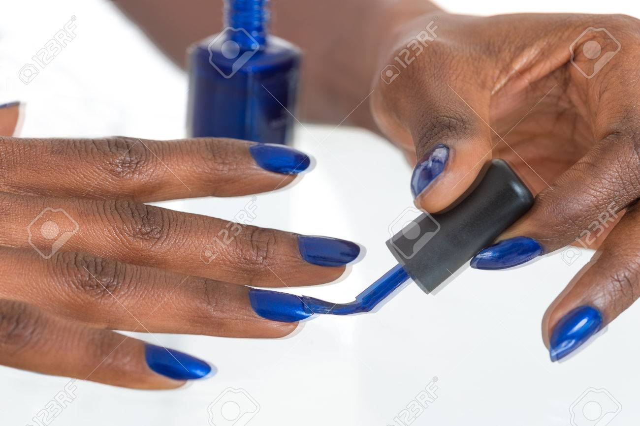 Holiday Nail Art. Luxury Blue Nail Polish On Black African American ...
