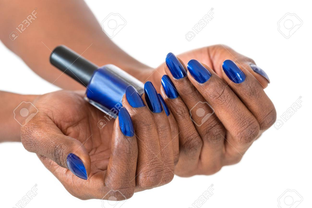 Holiday nail art luxury blue nail polish on black african holiday nail art luxury blue nail polish on black african american nails stock photo prinsesfo Gallery