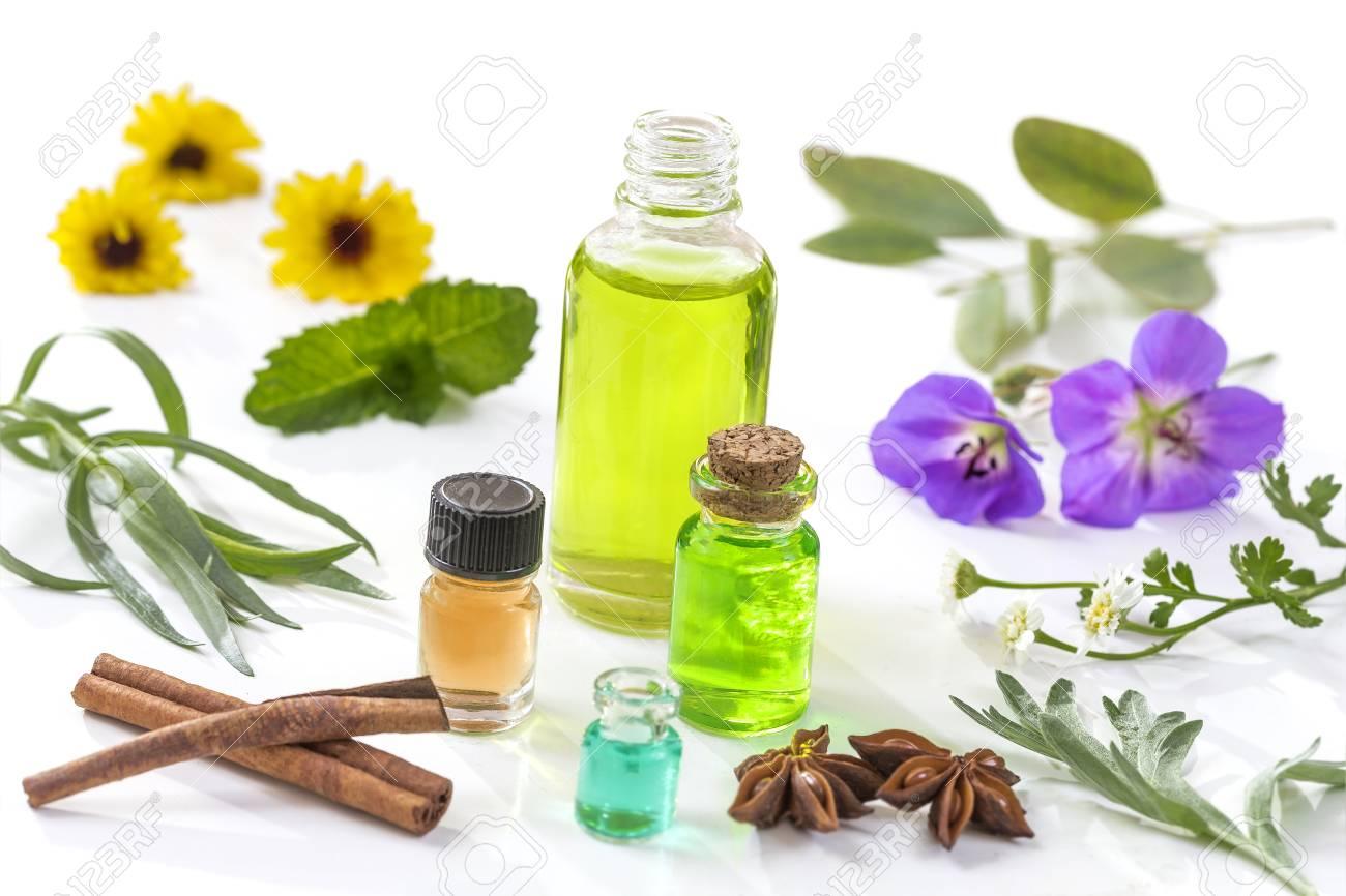 Herbal Medicine Aroma Oil Bottle With Various Drugplant Flowersand
