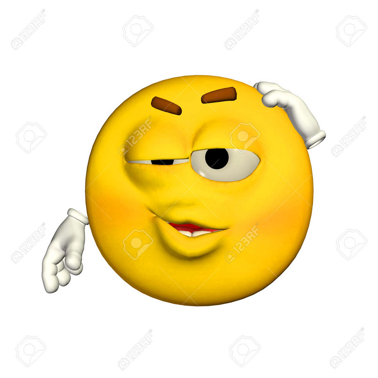Illustration Of An Embarrassed Yellow Emoticon Isolated On A ...