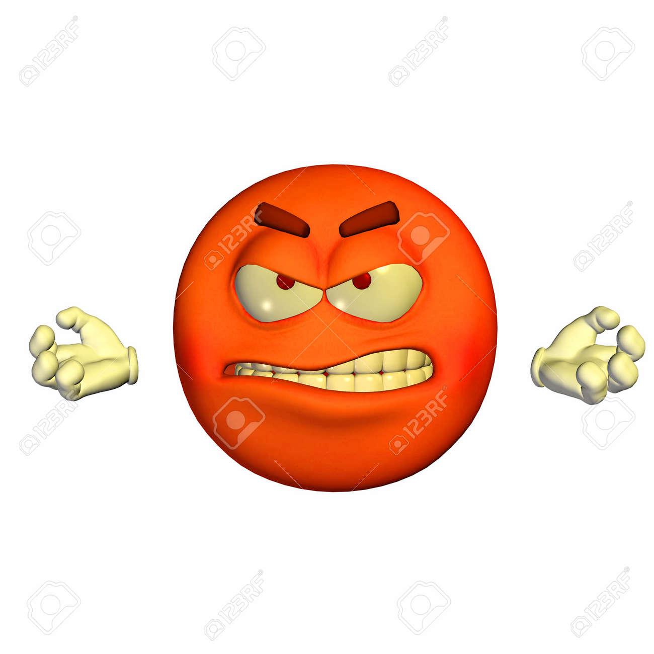 Illustration D Un Emoticone Furieux Rouge Isole Sur Un Fond Blanc Banque D Images Et Photos Libres De Droits Image 12675112