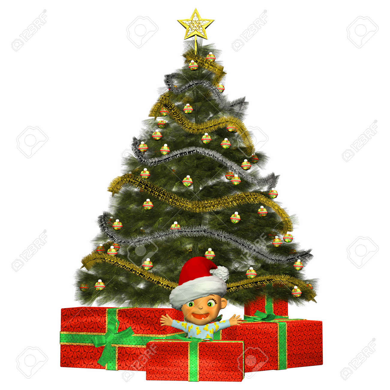 Illustration Of Cartoon Baby In Front Of A Christmas Tree And ...