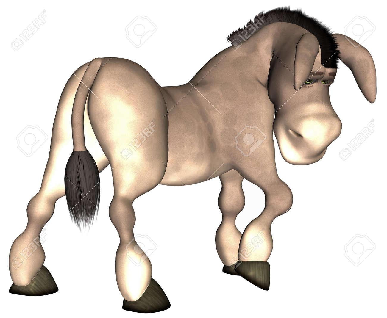 Illustration of a cartoon donkey isolated on a white background Stock Photo - 12675208