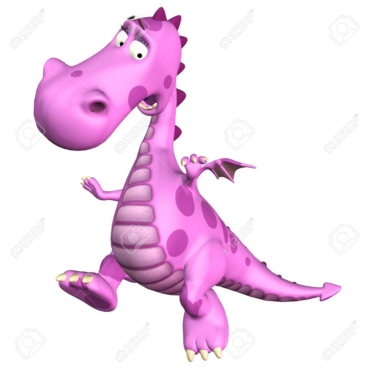 Illustration of a scared pink dragon isolated on a white backgorund Stock Illustration - 12675166