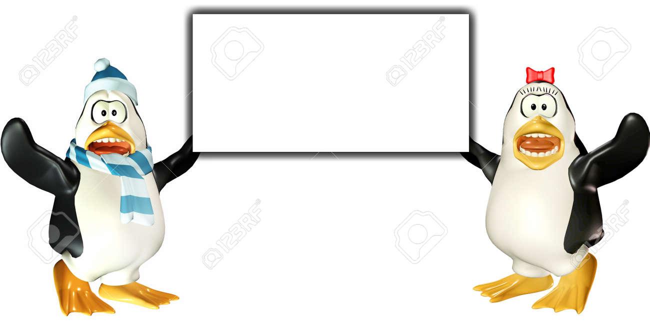 白い背景上に分離されて空白の看板を持っているペンギンのカップルの