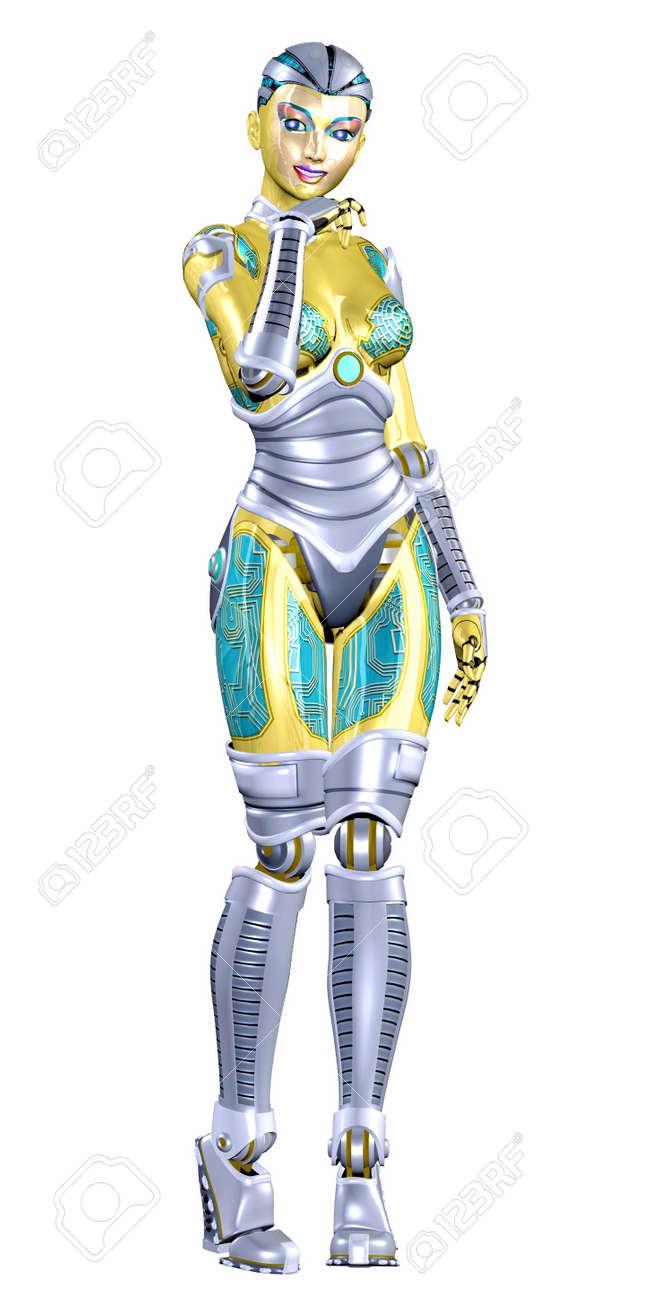 les créations d'érik15 - Page 5 12743799-Illustration-d-un-robot-f-minin-isol-sur-un-fond-blanc-Banque-d'images