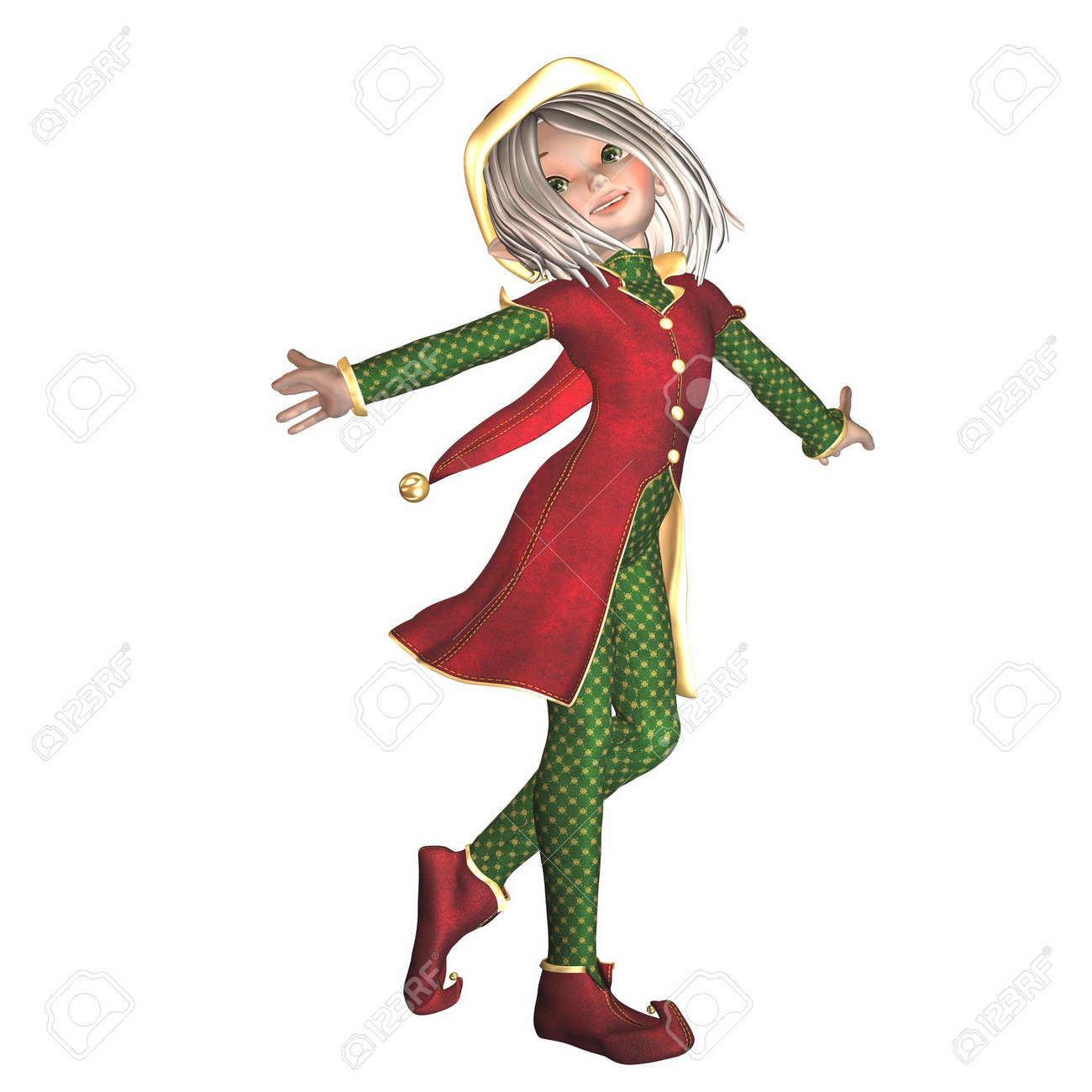 illustration of a female christmas elf isolated on a white