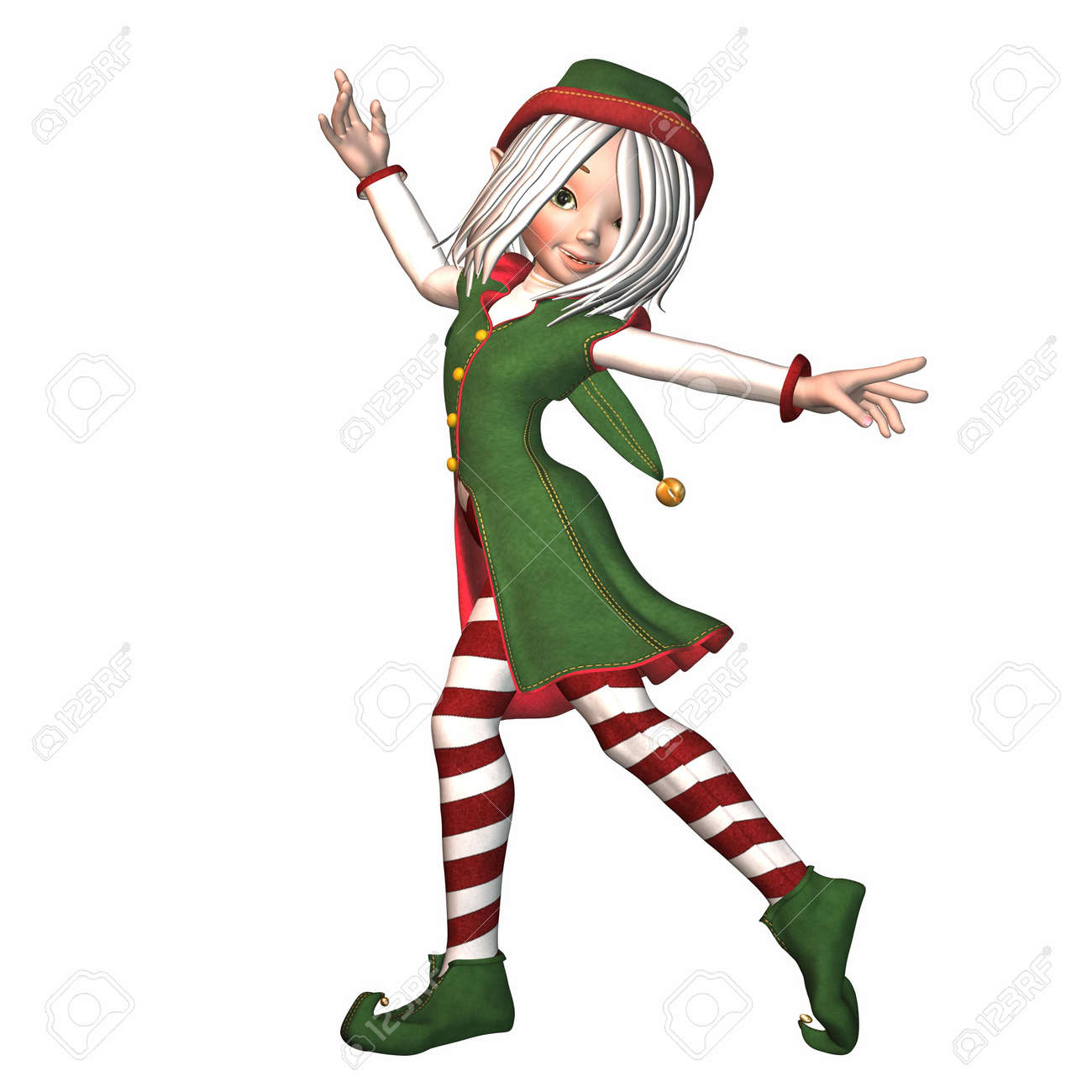 Illustration Of A Female Christmas Elf Isolated On A White ...