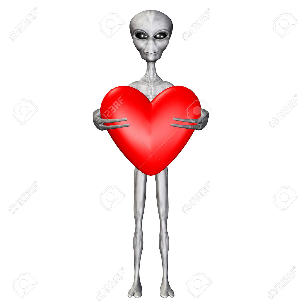 Illustration of an alien holding a heart isolated on a white background Stock Photo - 12744766