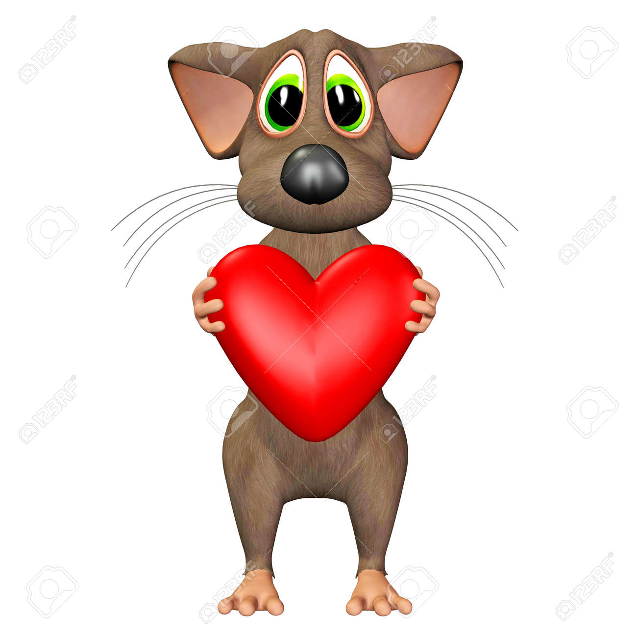Illustration of a mouse holding a heart isolated on a white background Stock Illustration - 12744891