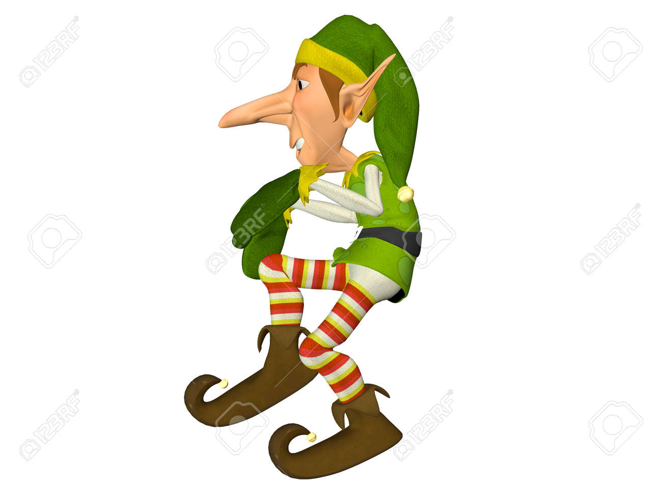Illustration Of A Christmas Elf Isolated On A White Background Stock ...