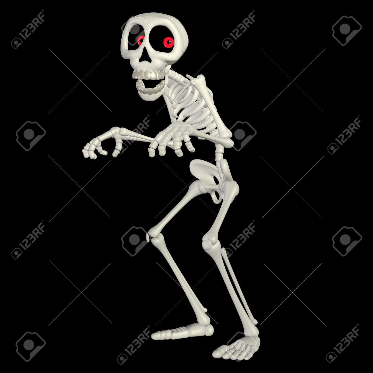 Illustration of a happy skeleton cartoon isolated on a black background Stock Illustration - 13177447