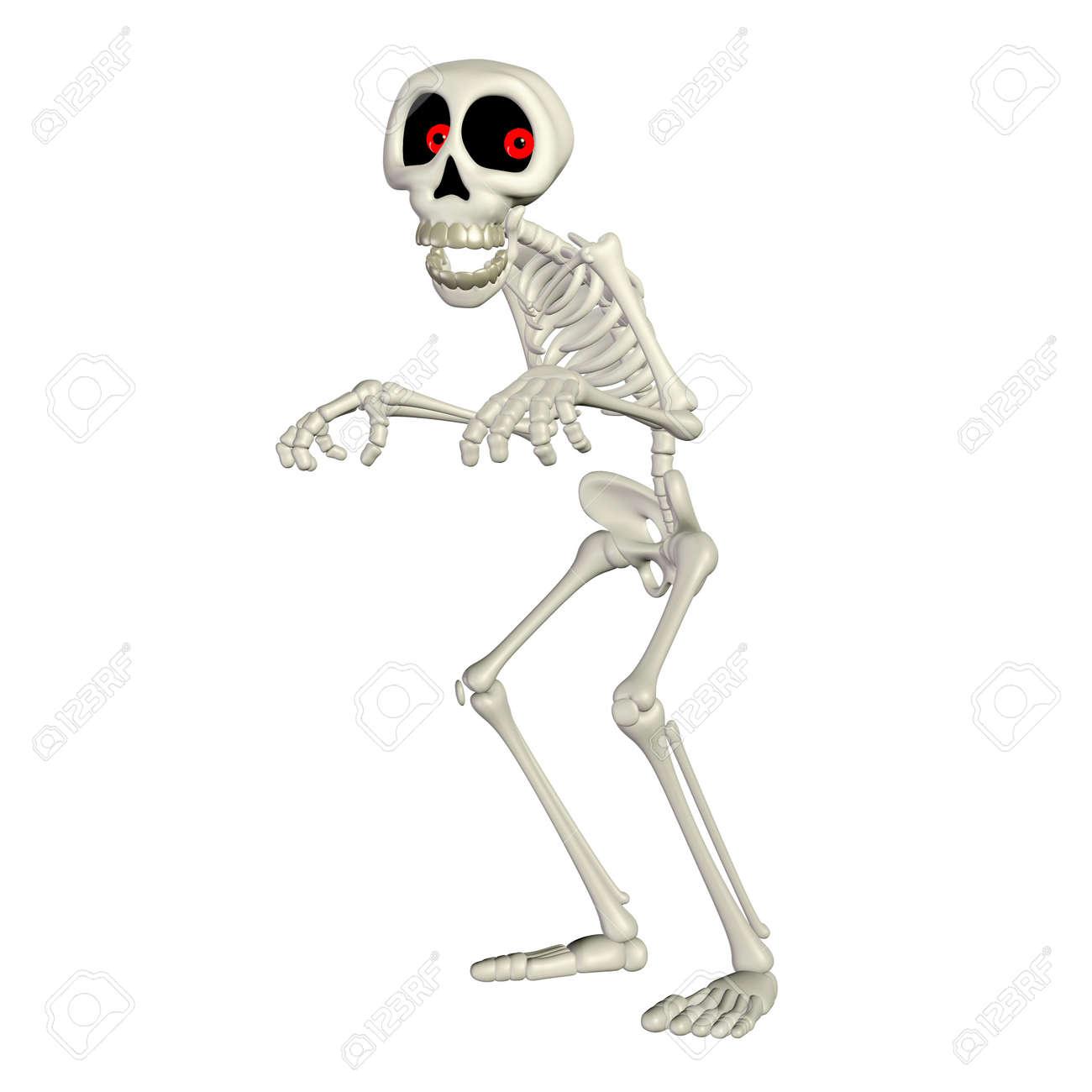 Illustration of a happy skeleton cartoon isolated on a white background Stock Illustration - 13177445