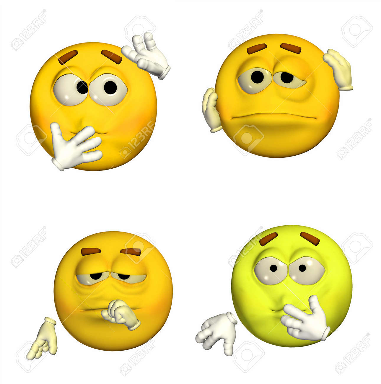 Illustration of a pack of four  4  emoticons   smileys with different poses and expressions isolated on a white background Stock Photo - 13504850