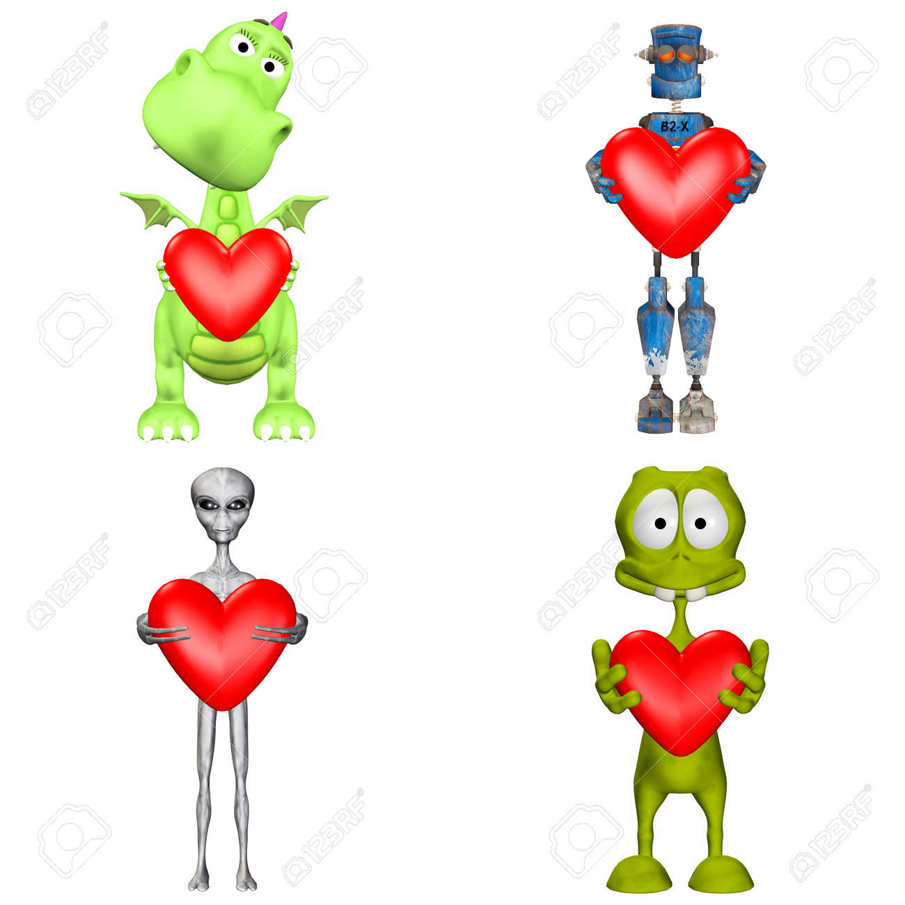 Illustration of a pack of four  4  cartoon characters holding a heart isolated on a white background - 2of3 Stock Illustration - 13641118