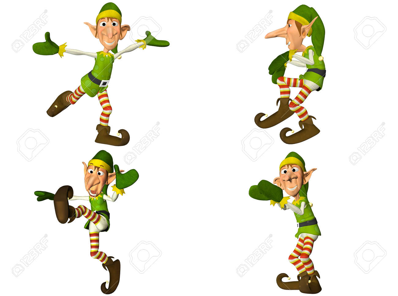Illustration of a pack of four  4  christmas elves with different poses and expressions isolated on a white background - 2of2 Stock Photo - 13641120