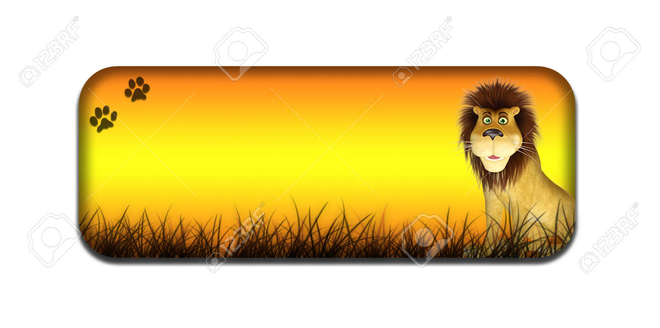 Illustration of a safari themed banner header with a cartoon lion on a white background Stock Illustration - 14326256