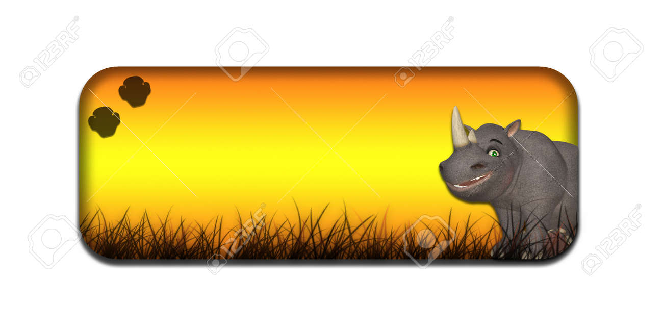 Illustration of a safari themed banner header with a cartoon rhinoceros on a white background Stock Illustration - 14326258