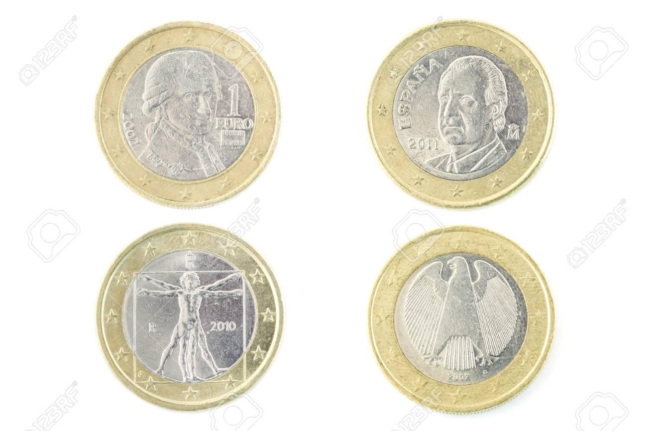 Rückseite Der Euro Münze Auf Weißen Hintergrund Lizenzfreie Fotos