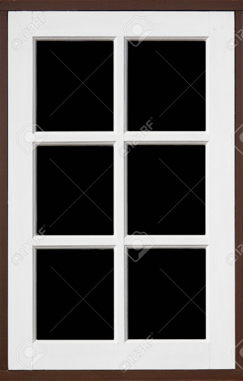 White window frame - Stock Photo Frame Of Wood Window With White Brownd Color And Black Backgrond