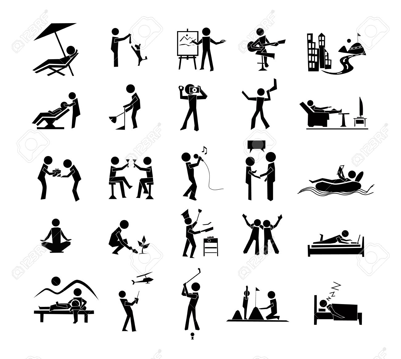 icon activities of leisure,rest,relax, royalty free cliparts