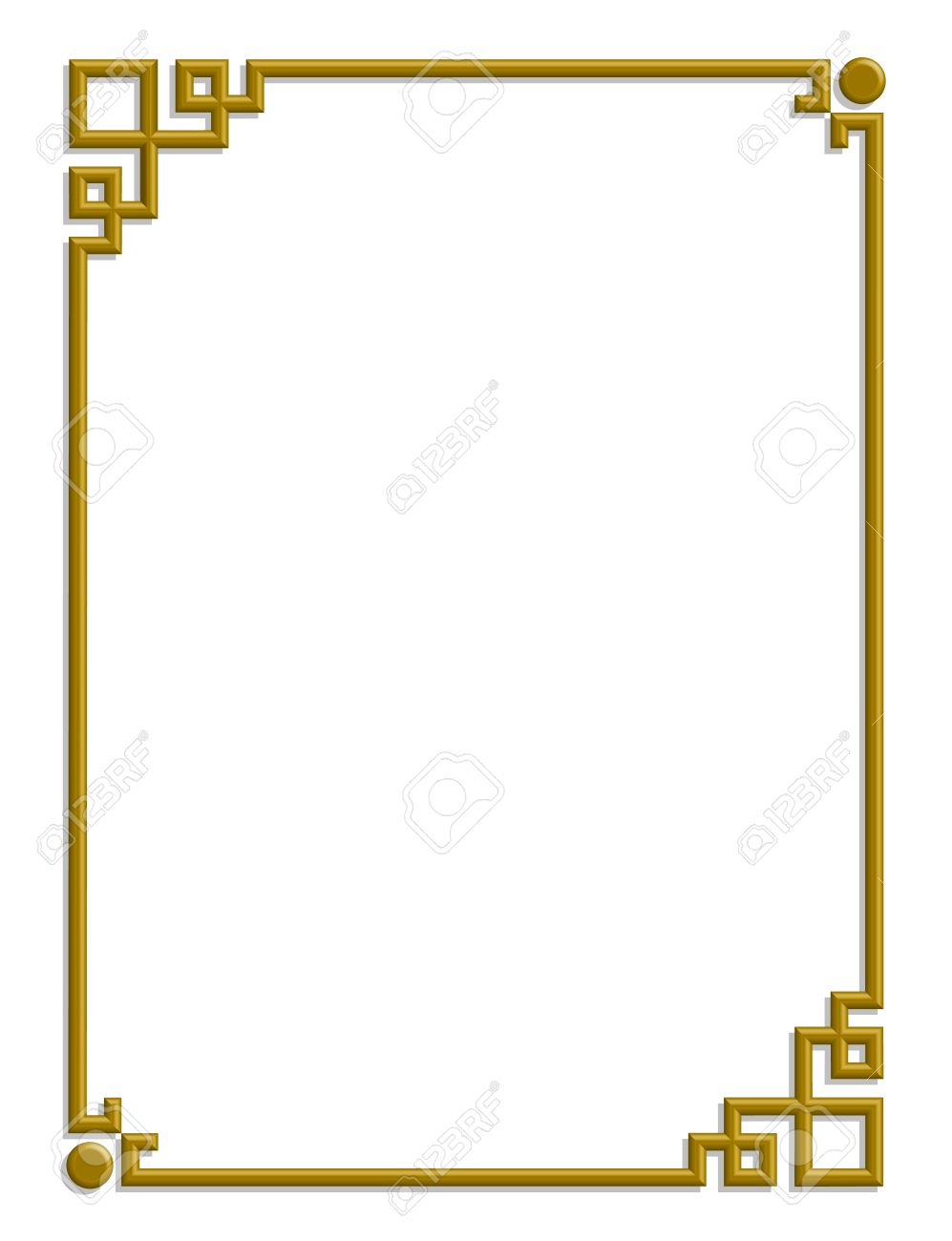 3D vector of beautiful golden frame chinese pattern for text and picture  Stock Vector - 23115028