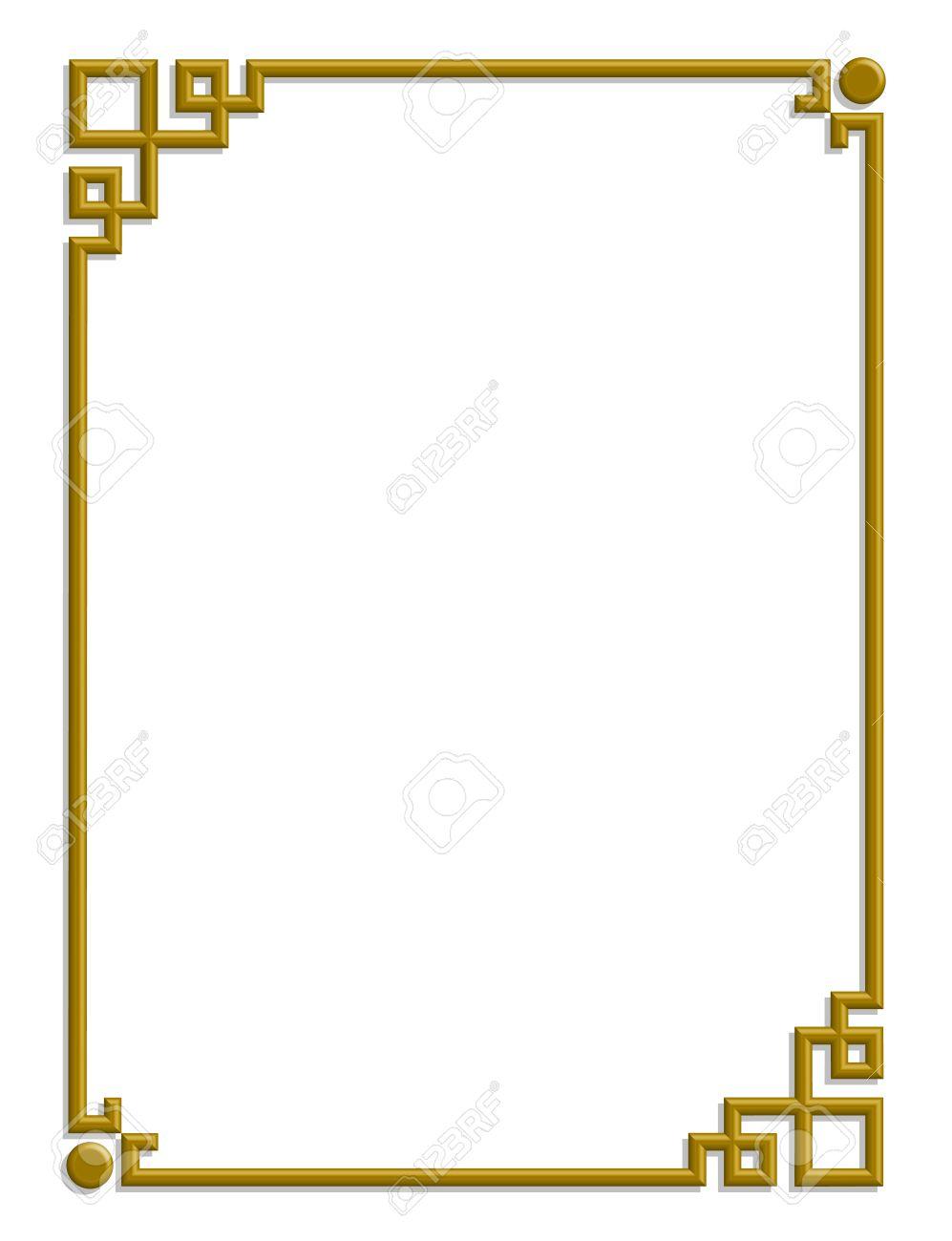 Bien connu Vecteur 3D De Beau Modèle Chinois De Cadre Doré Pour Le Texte Et L  II79