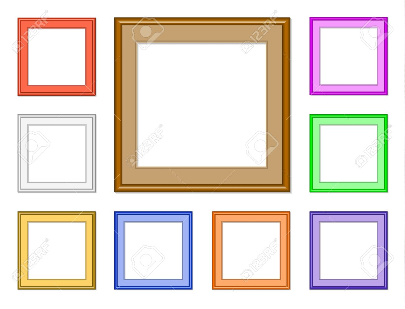 9 colorful square frames for collection image picture gallery or for web design stock