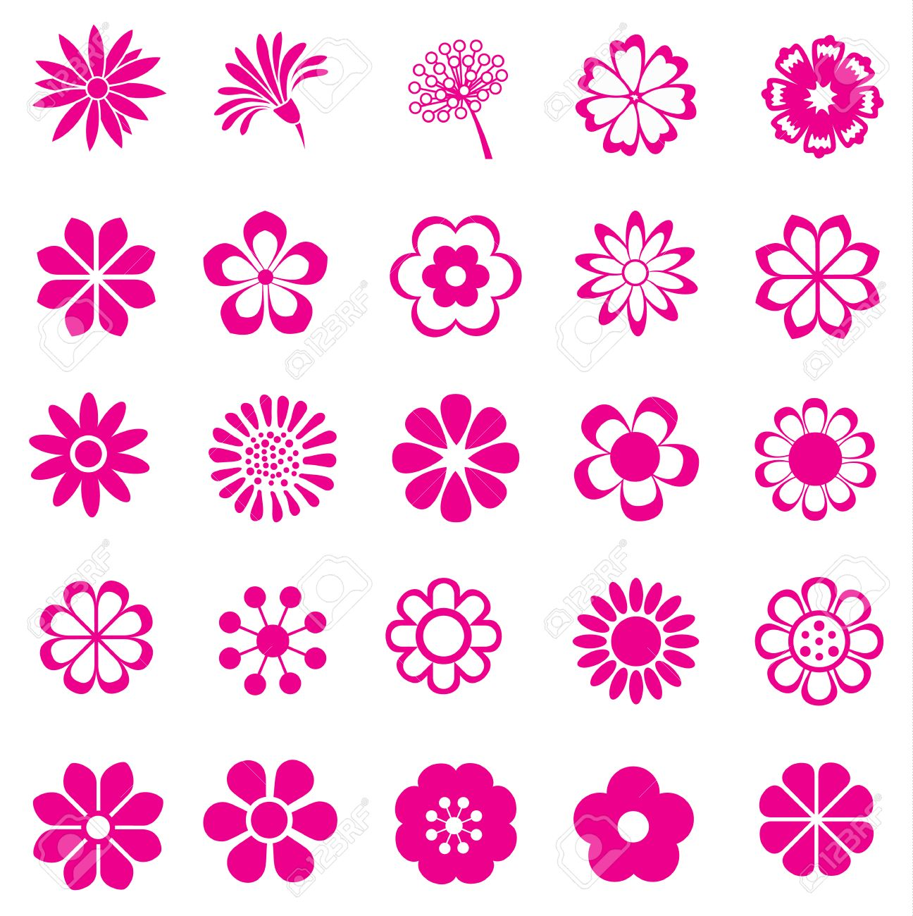 Pink flower vector set flowers icon royalty free cliparts pink flower vector set flowers icon stock vector 25971247 dhlflorist Images