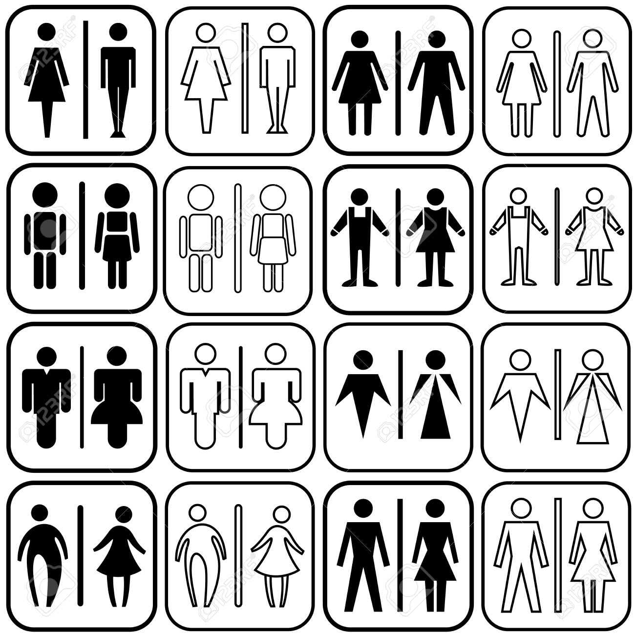 Bathroom Sign Vector Style modern style of toilet sign with men, women in art style design