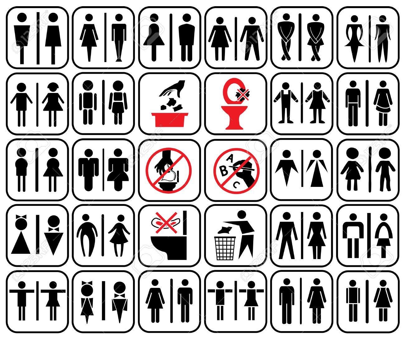 Modern Style Of Toilet Sign With Baby Men Women Pregnant Aged