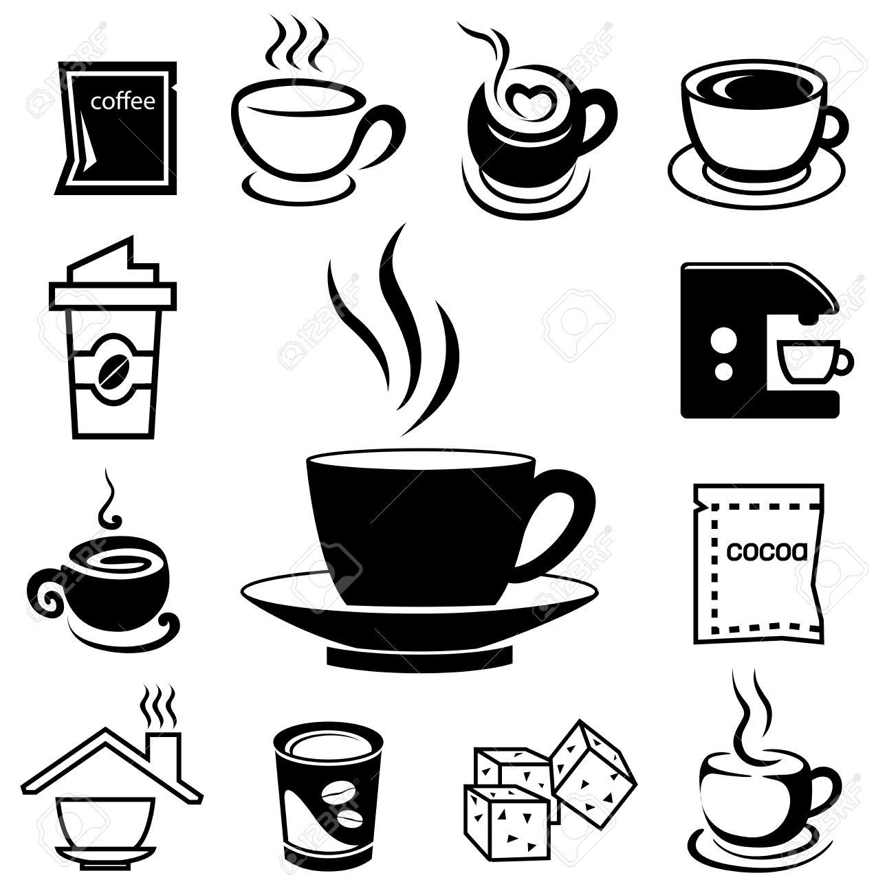 Kaffee Symbol Mit Zubehor Und Bestandteil Von Glas Tasse Bohnen