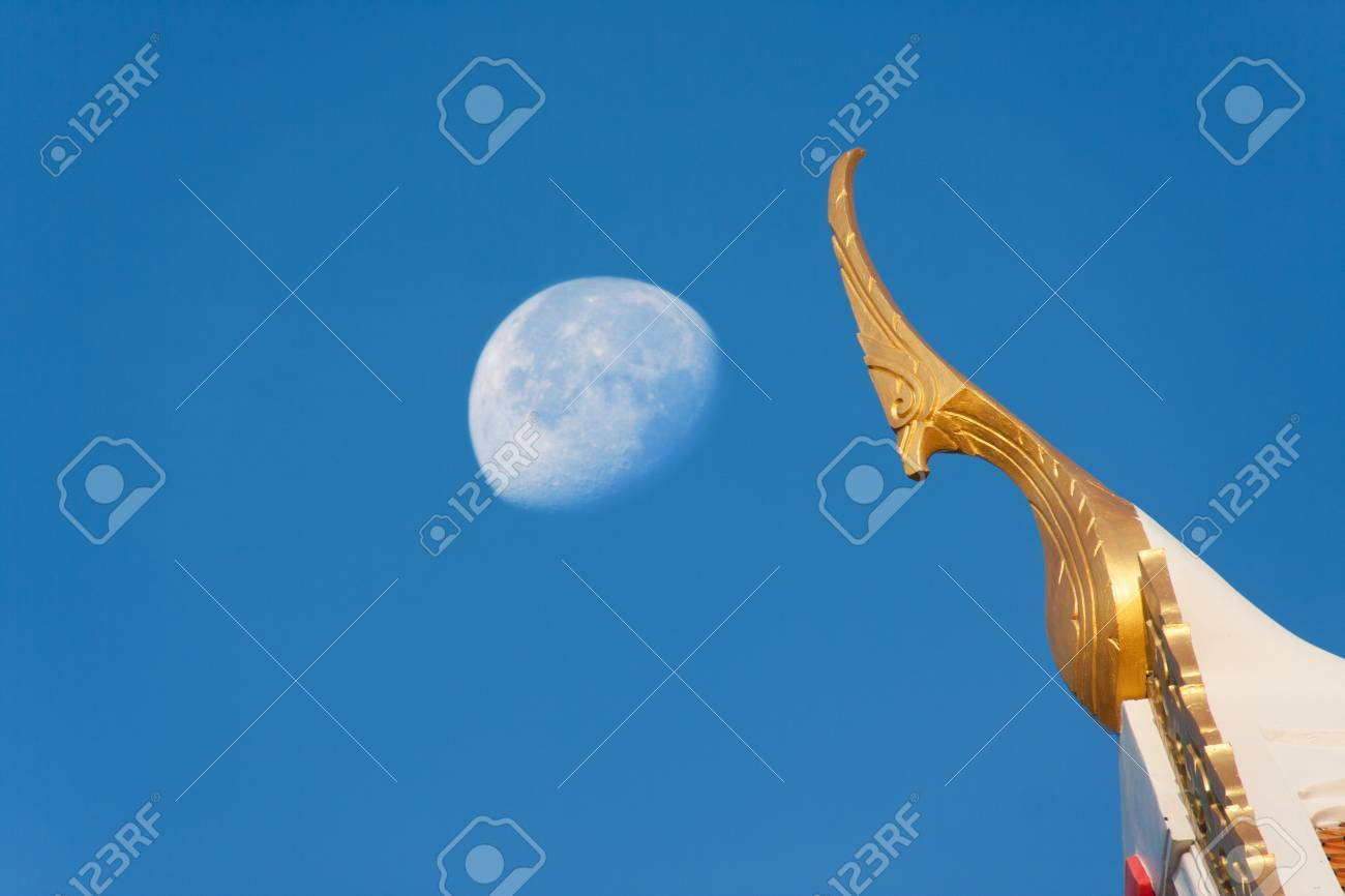 Gable Apex With Moon On Afternoon Buddhist Lucky Symbol Concept